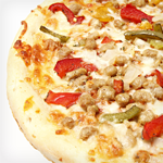 Photo of Atkins Cuisine Pizza with Sausage, Bell Peppers and Onions