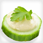 cucumber and hummus appetizer