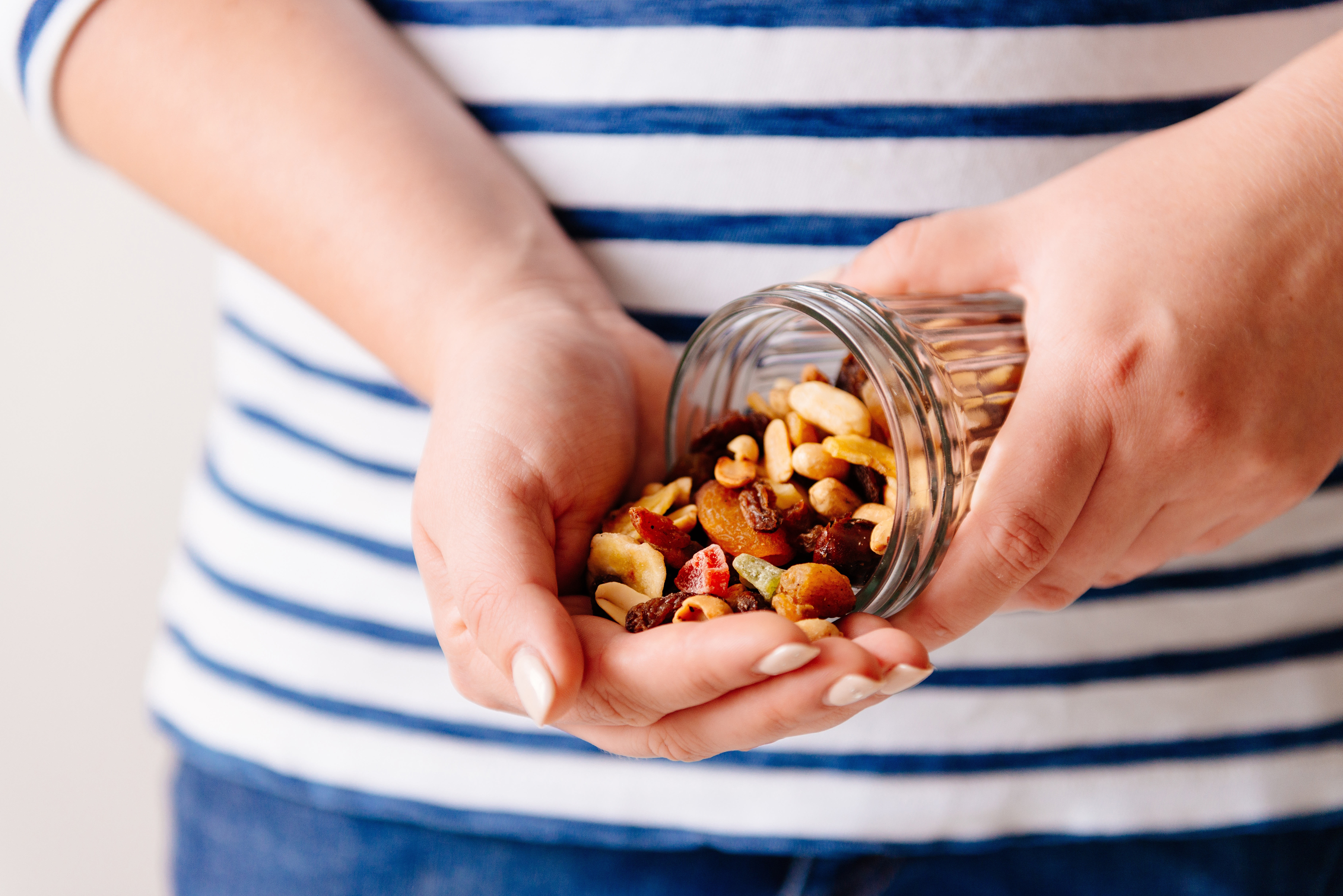 trail mix in hand