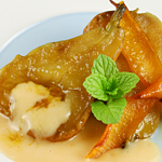 Ginger Ice Cream With Caramelized Pears