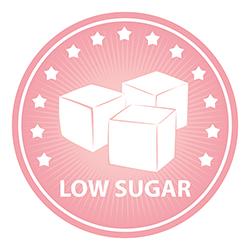 Low sugar label with 3 sugar cubes