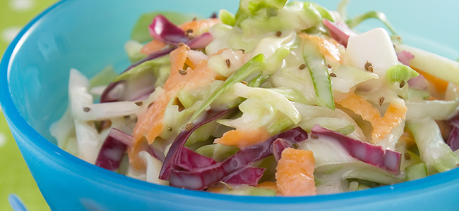 Close-up of a bowl of coleslaw.