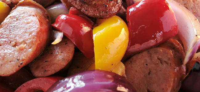"Photo of Vegetarian ""Sausage"" Sauté with Red Bell Pepper and Onions"