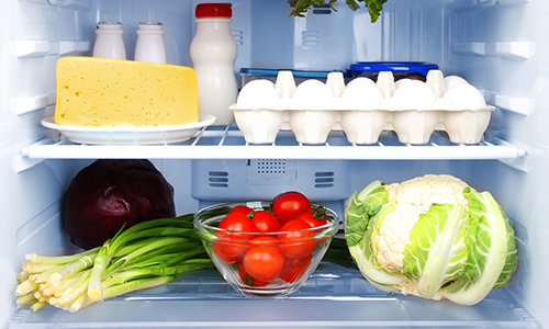 A fridge stocked with foods that you can eat on a low carb diet