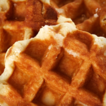 Belgian Waffles with Blackberry-Peach Compote