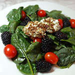Blackberry Spinach Salad with Goat Cheese Medallions