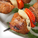Lamb, Eggplant, Onion and Red Bell Pepper Kebabs