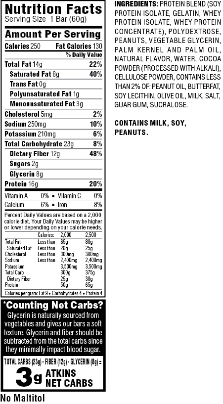 Atkins snack bars nutrition facts