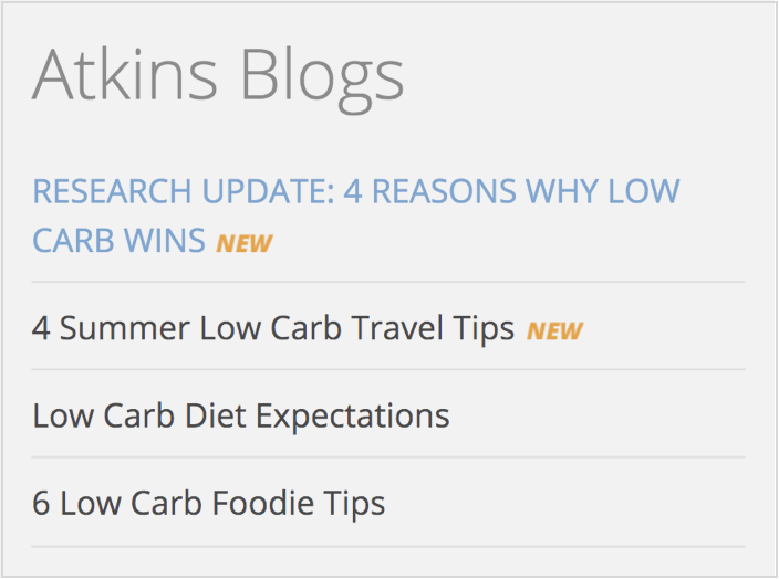 Atkins Low Carb Content